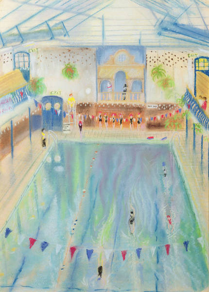Gala Wall Art - Photograph - Chelsea Swimming Baths, 1997 Pastel On Paper by Sophia Elliot