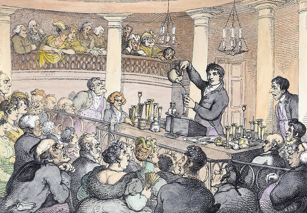 Experiment Wall Art - Drawing - Chemical Lectures by Thomas Rowlandson