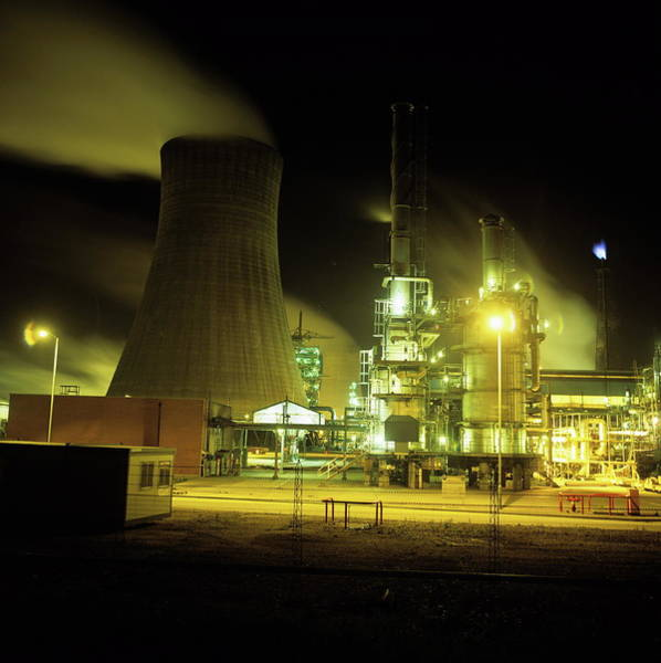 Chimnies Photograph - Chemical Works At Night by Robert Brook/science Photo Library