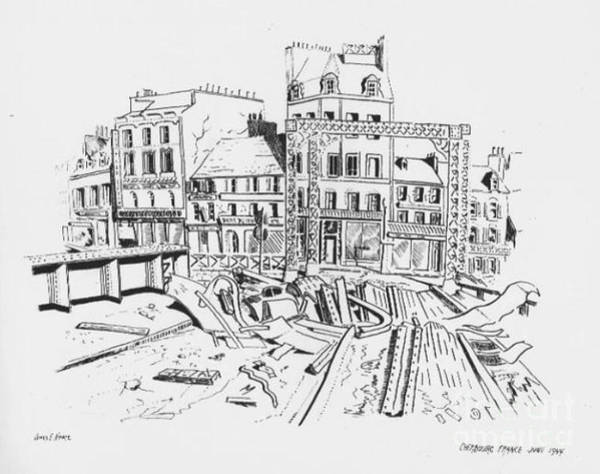 Drawing - Cherbourg France June 1944 by David Neace