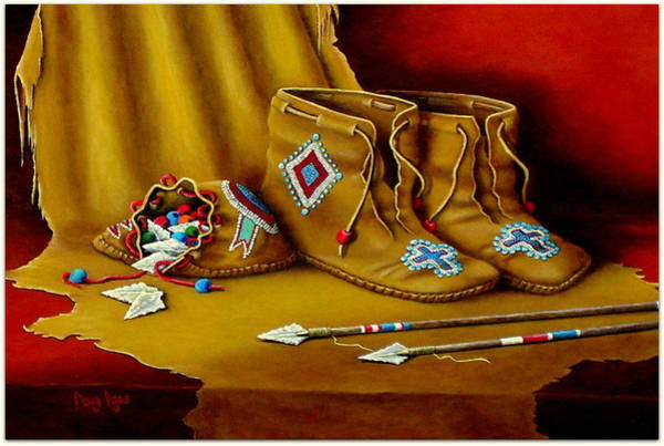 Longhorn Painting - Cherokee Dress Mocccasins by H Doug Agee