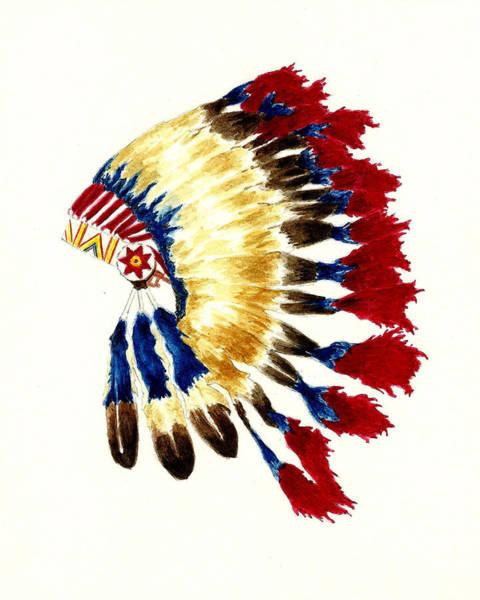 Cherokee Wall Art - Painting - Cherokee Headdress by Michael Vigliotti