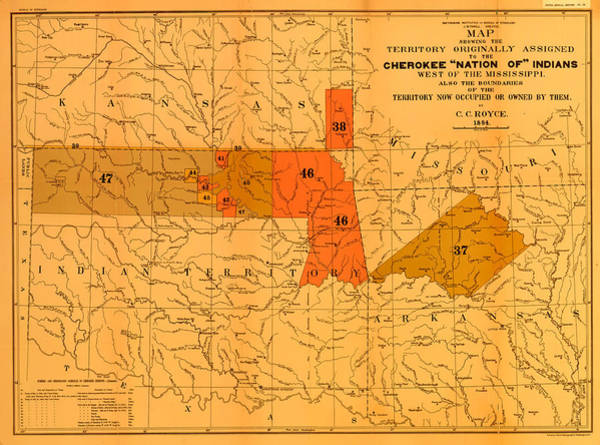 Contour Map Photograph - Cherokee Nation Of Indians 1884 by Mountain Dreams