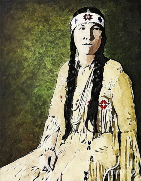 Ross Digital Art - Cherokee Woman by Lianne Schneider