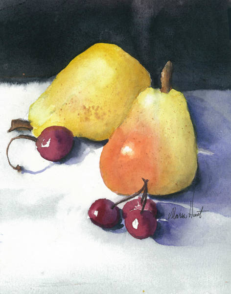Wall Art - Painting - Cherries And Pears by Maria Hunt