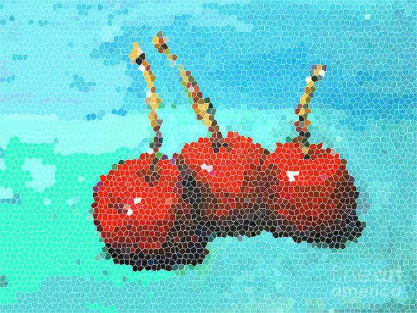 Digital Art - Cherries IIi - Mosaic Digital Art by Patricia Awapara