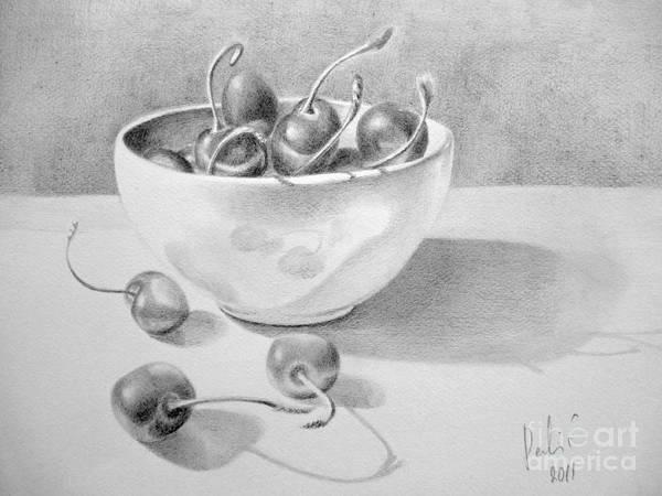 Cherries In White Bowl Art Print by Eleonora Perlic