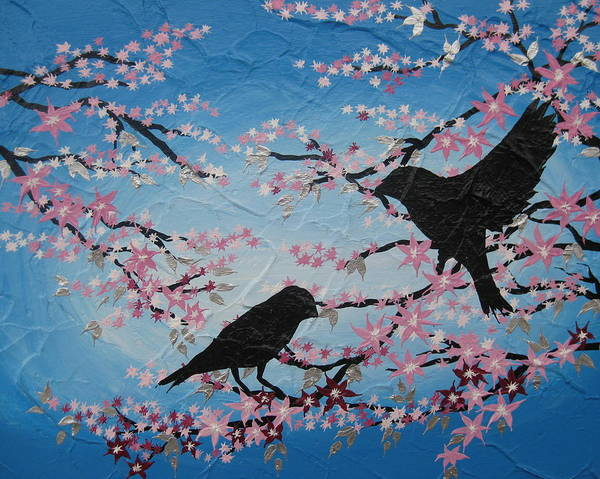 Happy Little Trees Painting - Cherry Blossom Birds by Cathy Jacobs
