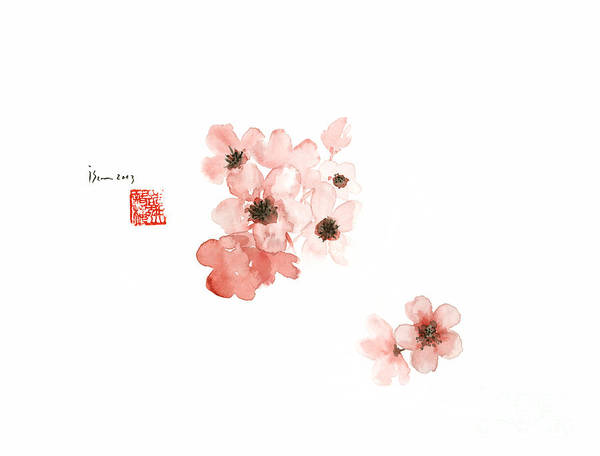 Handmade Wall Art - Painting - Cherry Blossom Sakura Pink Flower Flowers Delicate Branch Brown Watercolor Painting by Johana Szmerdt