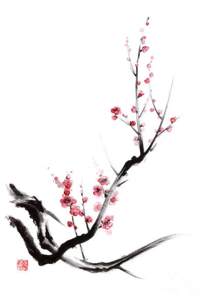 Cherry Tree Painting - Cherry Blossom Spring Flower. by Mariusz Szmerdt