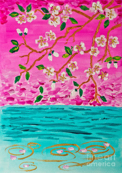 Painting - Cherry Blossoms Branch With Water Ripples Acrylic Painting by Beverly Claire Kaiya