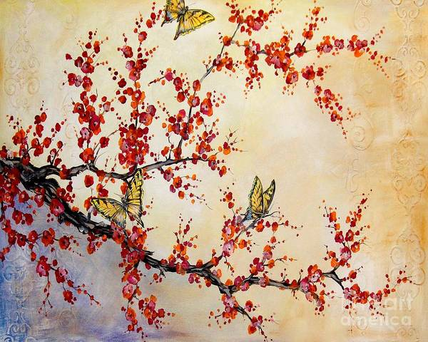 Emboss Wall Art - Painting - Cherry Blossoms by Jean Plout