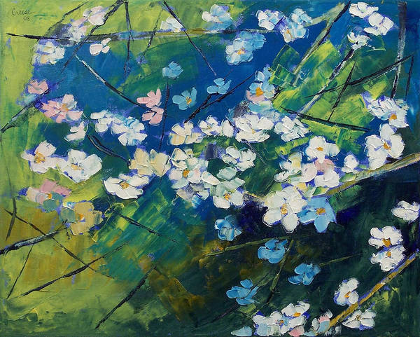 Impasto Photograph - Cherry Blossoms by Michael Creese