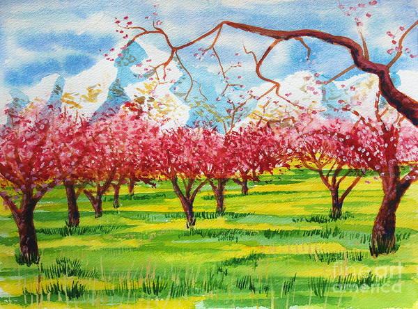 Painting - Cherry Blossoms Under Ben Lomond by Walt Brodis
