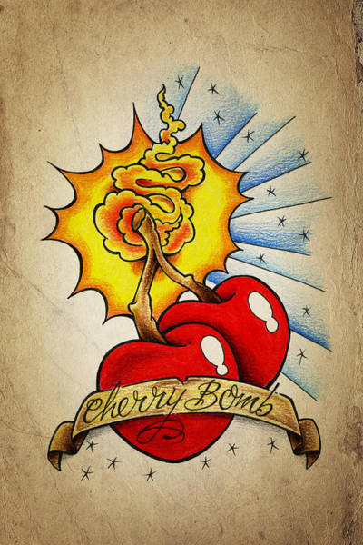 Wall Art - Drawing - Cherry Bomb by Samuel Whitton