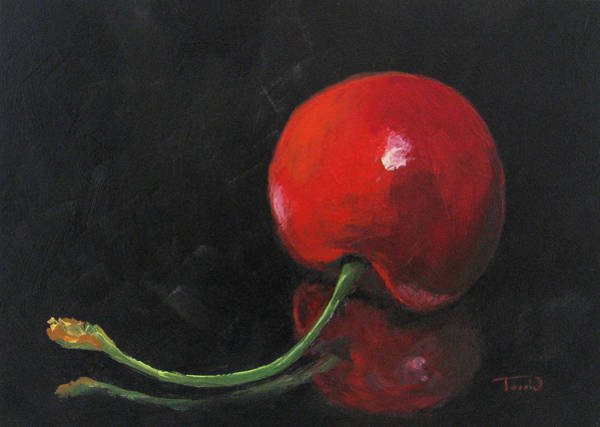Wall Art - Painting - Cherry On Black by Torrie Smiley