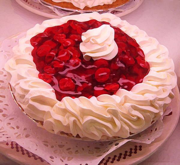 Whipped Cream Painting - Cherry Pie With  Whip Cream by Amy Vangsgard