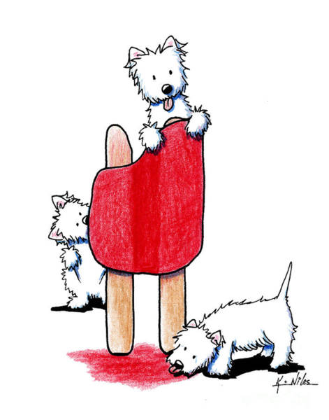 Summer Drawing - Cherry Pop Westies by Kim Niles