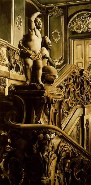 Painting - Cherubs On The Stairs by Alfred Ng