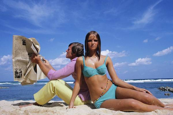 Two People Photograph - Cheryl Tiegs Modeling A Bikini At A Beach by William Connors