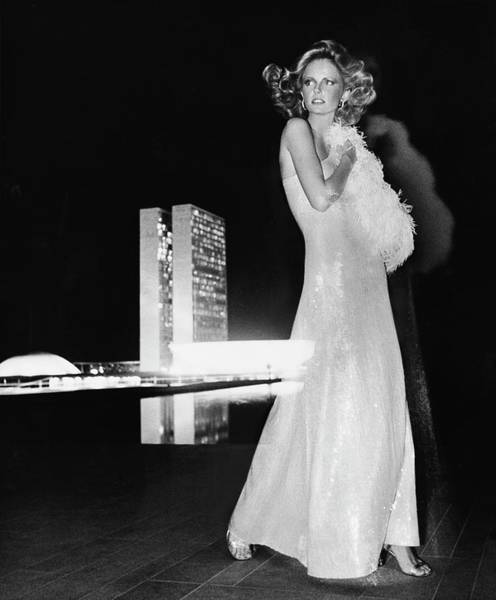 Wall Art - Photograph - Cheryl Tiegs Wearing A Halston Evening Gown by Kourken Pakchanian