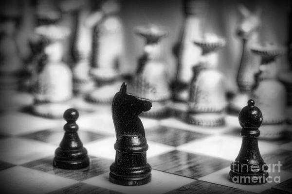 Chess King Photograph - Chess Game In Black And White by Paul Ward