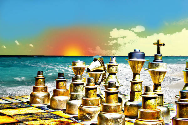 Chess On Beach Art Print by Frank Savarese