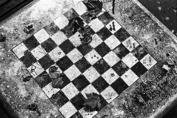 Photograph - Chess Table In Rain by Dave Beckerman