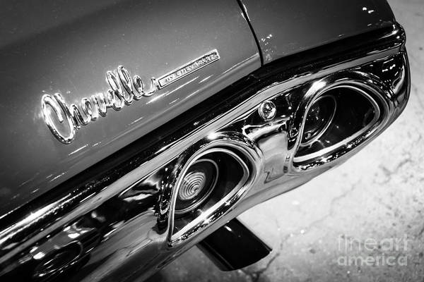 Chevy Chevelle Wall Art - Photograph - Chevrolet Chevelle Emblem Black And White Picture by Paul Velgos