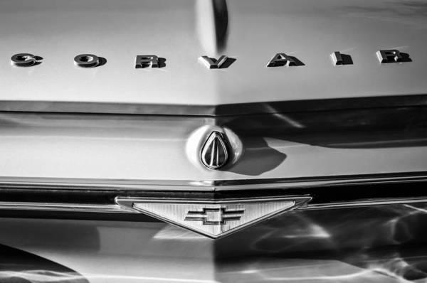 Corvair Photograph - Chevrolet Corvair Emblem -0082bw by Jill Reger