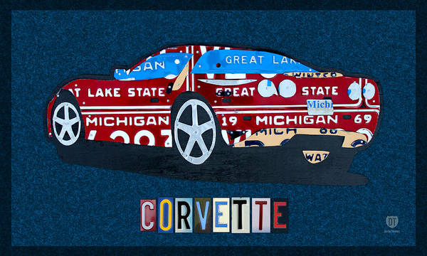 Chevy Wall Art - Mixed Media - Chevrolet Corvette Recycled Michigan License Plate Art by Design Turnpike
