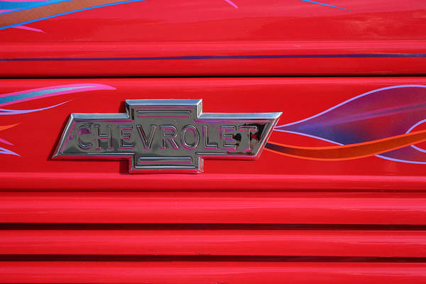 Old Chevy Photograph - Chevrolet Emblem by Carol Leigh
