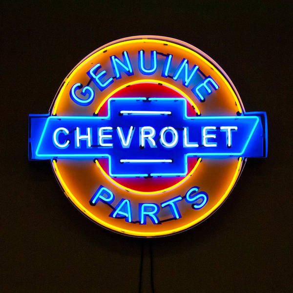 Vintage Neon Sign Photograph - Chevrolet Neon Sign by Jill Reger