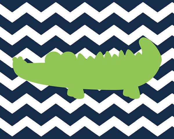 Bath Room Wall Art - Painting - Chevron Alligator II by Tamara Robinson