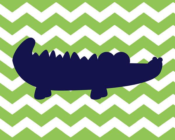 Bath Room Wall Art - Painting - Chevron Alligator by Tamara Robinson