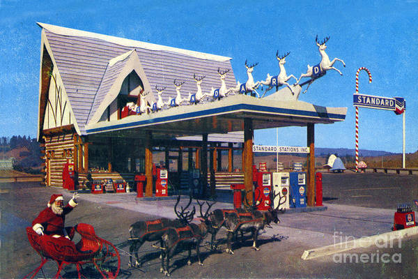 Photograph - Chevron Gas Station At Santa's Village With Reindeer And Carl Hansen by California Views Archives Mr Pat Hathaway Archives
