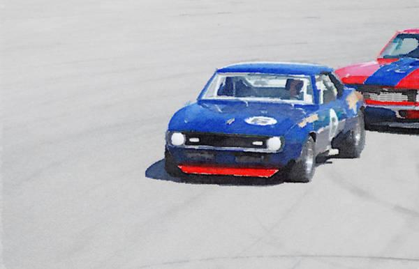 Camaro Wall Art - Painting - Chevy Camaro On Race Track Watercolor by Naxart Studio