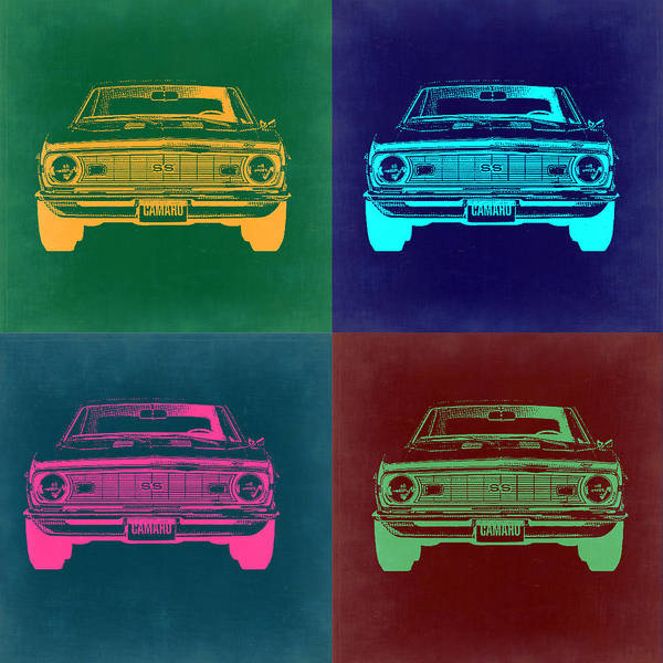 Muscle Car Wall Art - Painting - Chevy Camaro Pop Art 2 by Naxart Studio