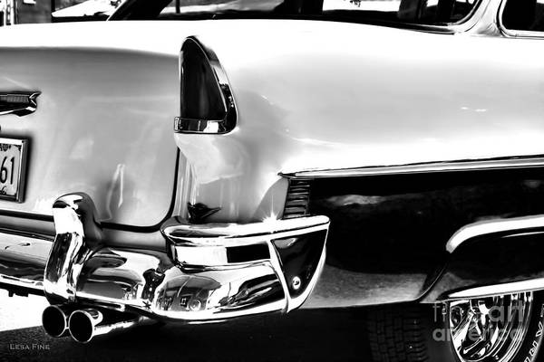 Photograph - Chevy Car Art Black And White Rear View by Lesa Fine