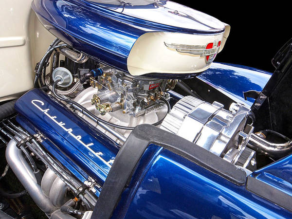 Street Rods Photograph - Chevy Hot Rod Engine by Gill Billington