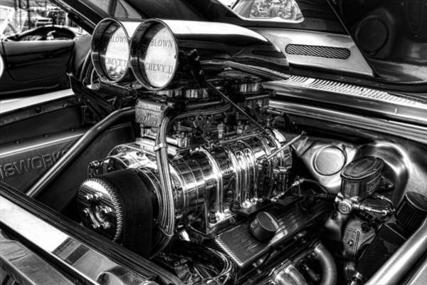 Chevy Supercharger Motor Black And White Art Print