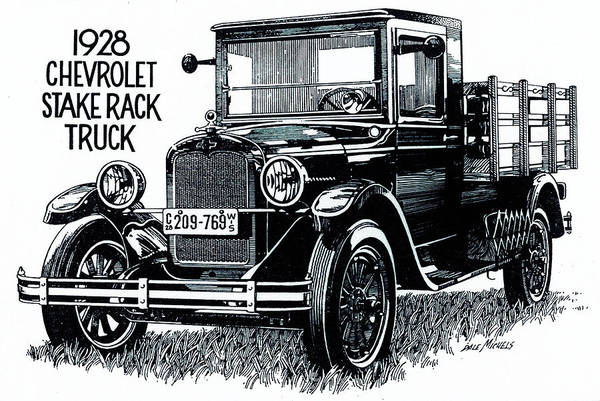 Old Chevy Truck Drawing - Chevy Truck by Dale Michels