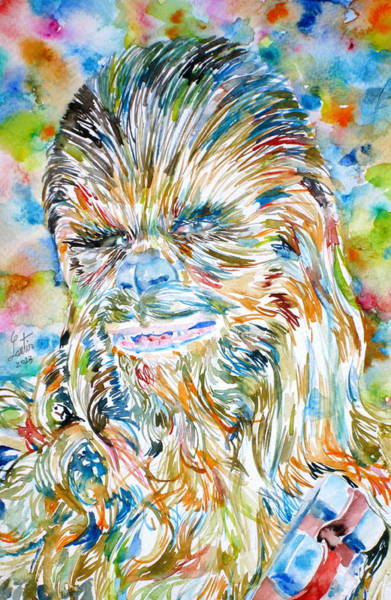 Fur Painting - Chewbacca Watercolor Portrait by Fabrizio Cassetta