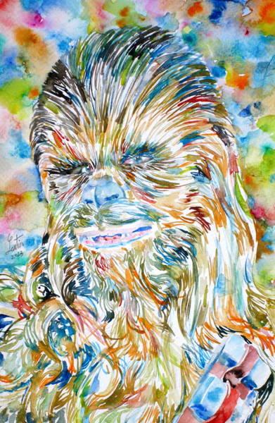 Alien Painting - Chewbacca Watercolor Portrait by Fabrizio Cassetta