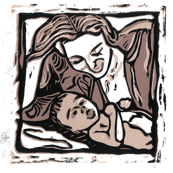 Linocut Wall Art - Mixed Media - Chey And Lucca 2 by Kevin Houchin