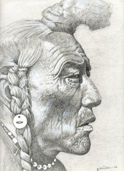 Drawing - Cheyenne Medicine Man by Bern Miller