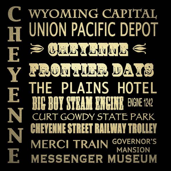 Frontier Digital Art - Cheyenne Famous Landmarks by Patricia Lintner