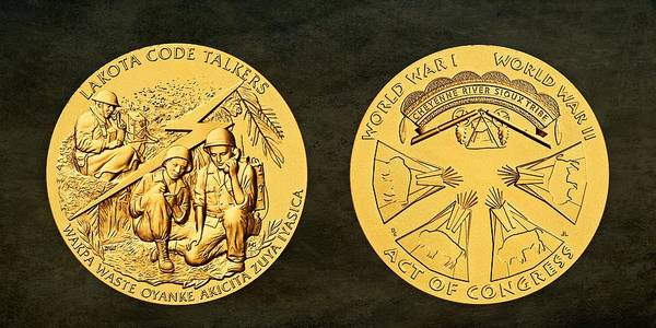 Wall Art - Photograph - Cheyenne River Sioux Tribe Code Talkers Bronze Medal Art by Movie Poster Prints