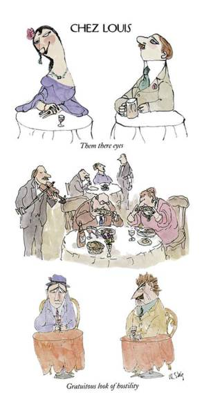 Flirting Drawing - Chez Louis by William Steig