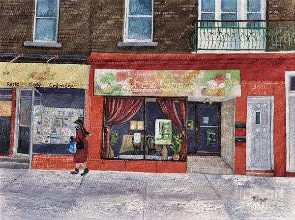 Montreal Street Scene Wall Art - Painting - Chez Maggy Verdun by Reb Frost
